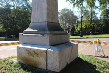 Another angle of the damage sustained by the monument when a suspected drunk driver crashed into it